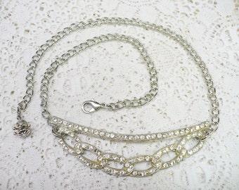 OOAK Authentic Vintage 1920s Art Deco RHINESTONE Necklace - Silver pot metal pendant - adjustable chain - silver tone metal chain - Bridal