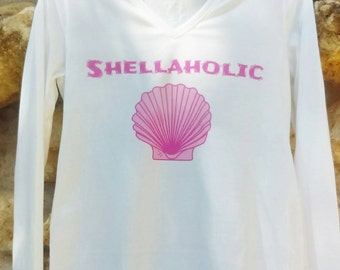 Shellaholic beach shirt, seashell shirt