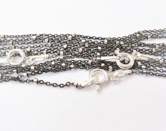 "925 sterling silver 2 tone (GunMetal/Silver) 20 "" chain, silver two tone chain"