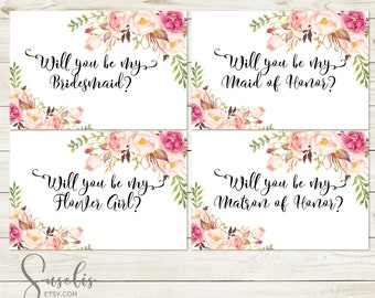 Will You Be My Bridesmaid Printable set, DIY Wedding cards, Bridal Proposal, Black text Watercolor flowers Peach Boho, DIGITAL FILES WS12