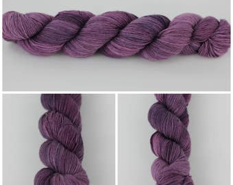 Simple Sock - Hand Dyed Yarn 50 gm {Merlot} on Fingering Weight, sock yarn, knitting yarn, crochet yarn, purple yarn.