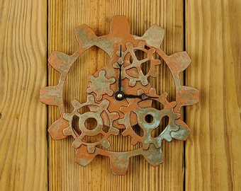 Copper Steampunk Wall Clock -  Gear Clock