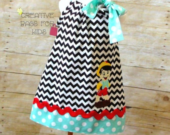 Pinocchio Dress/ Pinocchio Outfit/ Personalized Pinocchio Dress/ Birthday Dress/ Pinocchio clothing   (matching bag available)