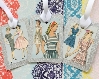 Luxury Vintage Fashion Lady Glitter Gift tags - set of 3