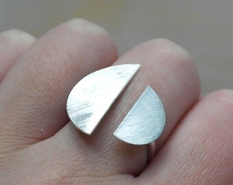 Silver ring geometric adjustable ring moon ring modern jewelry - MOON