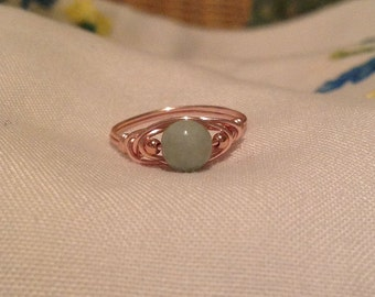 Burmese Jadeite rose gold wire-wrapped ring size 7