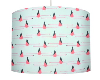 New! Flamingo Bird, Charley Harper, Organic Cotton Fabric Drum Lampshade, Small Lampshade 20cm - Large Lampshade 30cm or Custom Order