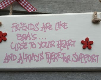 Handmade shabby chic wooden plaque Handwritten with a humorous quote - Friends are like bra's ...