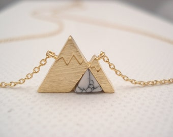 Mountain necklace..simple everyday, Nature jewelry, Gift for Hikers, Gift for mountain climbers, mountain lover