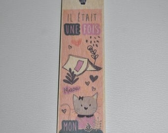 Bookmark wooden - pink-lilac kitten