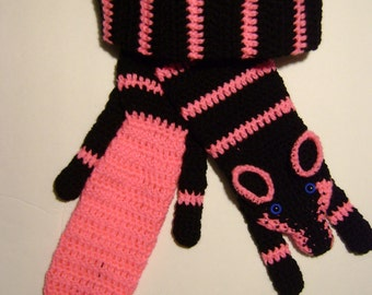 Hand Crochet Fox Scarf Black/Pink