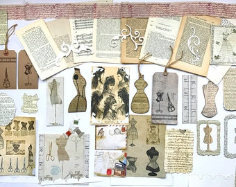 Dressmaking Mannequin Themed French Journalling Kit - 50 Vintage French Book Pages, Inspiration Kit , Scrapbooking - Decoupage - Altered Art