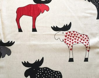 Swedish retro inspired fabric with moose. Colorful mod pattern. Scandinavian funny home decor with a twist  fabric sewing crafts