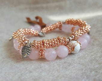 Pink and rosegold bracelet set