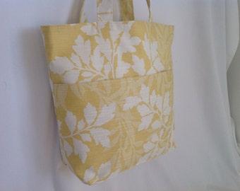 Pretty Yellow Floral Fabric Tote Bag, Beach Bag, Shopper, Hand Bag