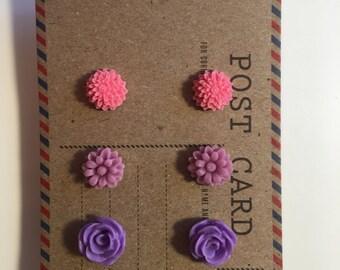 Stud Earring Sets Hypoallergenic 3 Pair Floral