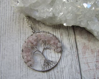 Rose Quartz Gemstone Tree Of Life Pendant Necklace- Silver Plated Pink