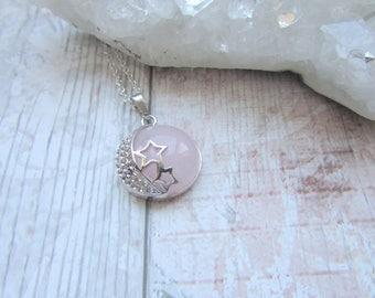 Rose Quartz Stars And Moon Gemstone Pendant Necklace, Silver, Polished Stone