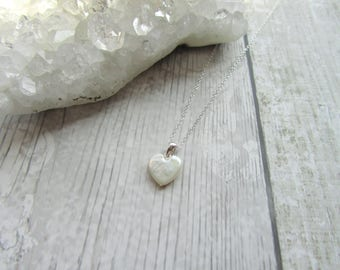 White Pearl Heart Pendant Necklace 925 Sterling Silver Freshwater Pearl