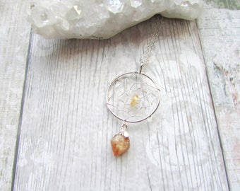 Citrine Point Dream Catcher Pendant - Gemstone Necklace Raw Stone - Silver Plated