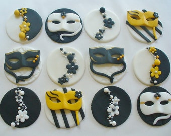 12 VENETIAN MASK MASQUERADE Fondant Cupcake Toppers