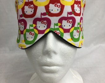 Hello Kitty Cotton Sleep Mask and Case Set, Travel Mask, Eye Mask