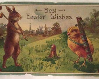 Easter Postcard Features Rabbit Playing Golf and the Chick as his Caddy, Early 1900s Vintage Easter Humanized Rabbit and Chick