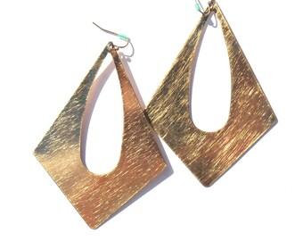 Vintage EarringsLarge Gold  Earrings Hippie  Oversized 60s 70s Light Pierced