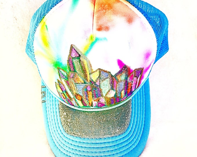 Glitter Neon Aura Crystal Cluster Hand Painted Light Blue Trucker Hat, Boho Trendy Hat with Bright Sparkly Aura Quartz Rainbow