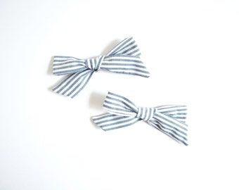 Pigtail schoolgirl bows, Pigtail hand-tied hairbows, double bows, pigtail bows, pigtail set