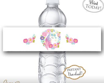 INSTANT DOWNLOAD - Floral Unicorn Water Bottle Labels - Glitter Pastel Unicorn Birthday - Rainbow Water Bottle Labels - Unicorn Label 0550