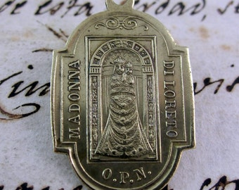 Very Antique Brass Medal  Our Lady of Loreto Medal and Santa Casa- Brass Medal Italian