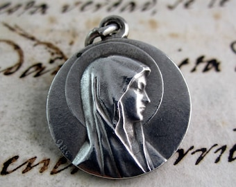 Our Lady of Lourdes Silver Medal - Silver Plated- Signed OBC - France - Catholic Religious