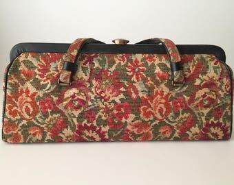 Vintage Tapestry Handbag, Kadin Purse, Mid Century Hand Bag, Women's Floral Purse, Large Clasp Handbag, Vintage Accessories, Carpet Handbag
