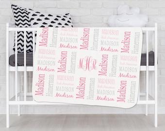 Baby Girl Blanket Personalized Baby Blanket Monogram Baby Blanket Name Blanket Swaddle Receiving Blanket Baby Shower Gift Pink Gray Grey