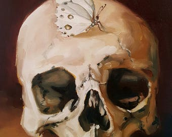 Study of a Human Skull with a White Butterfly- Original Still Life Oil Painting- Dark Macabre Minimalist Art- Memento Mori- Small Painting