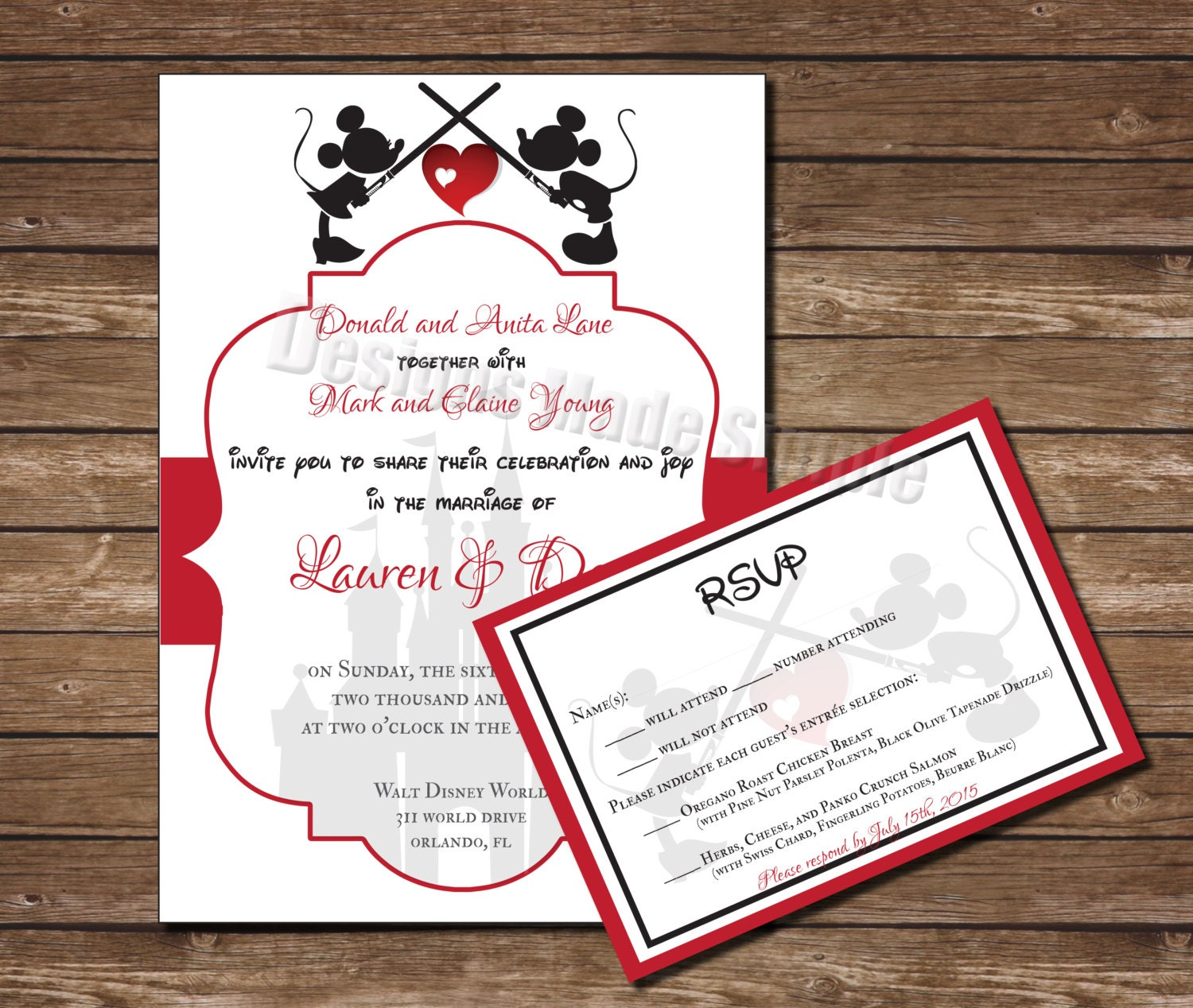 Lightsaber Mickey and Minnie Kissing Wedding Invitation Set with ...