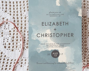 Dusty Blue Watercolor Wedding Invitation