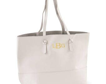 Monogrammed Genuine Leather Tote
