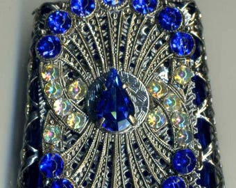 Glass Perfume Bottle- cobalt blue  bottle with silver filigree with blue and iridescent stones PB 408