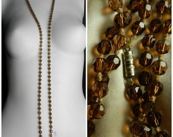 20s 30s Long Smokey Glass Necklace,  Deco Era Necklace, Faceted Bead Necklace, Flapper Length Necklace, Vintage Glass Bead Necklace