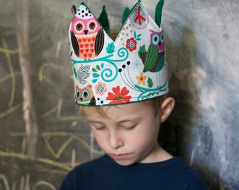 Whimsical Owl Fabric Crown - Green
