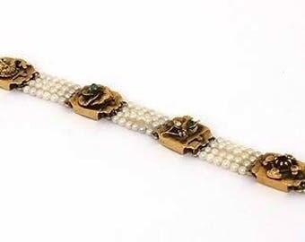 "9911 - Victorian 14k Gems Multi-Strand Pearl Bracelet -SIZE 6.25"""