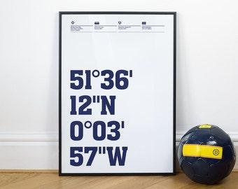 Tottenham Football Stadium Coordinates Posters