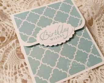 Birthday Gift Card Holder WITH Envelope, Aqua Lt Turquoise White Birthday Card, Aqua Money Holder, Birthday Card For Her