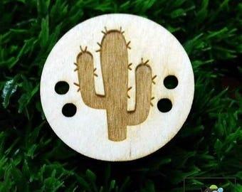 cactus button, wood button