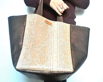 Bag square Tote - faux leather reptile print - bachette cotton lining - beige and brown colors