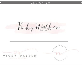 Watercolor Logo Design Branding Package Inc. Photography Logo Watermark - soft blue initials letters script cute Watercolor Logo- Logo 20