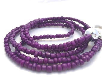 Purple beaded lanyard for badges, Purple beaded lanyard