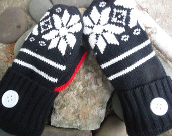 Sweater Mittens, black and white Nordic snowflake design, made from recycled/upcycled sweaters, so warm and cozy